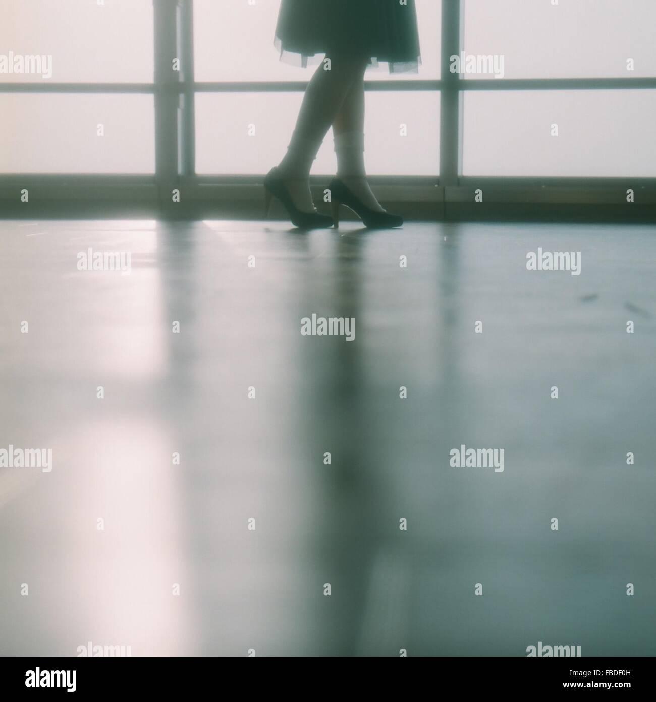 Sezione bassa della donna in tacchi alti in piedi contro la finestra Foto Stock