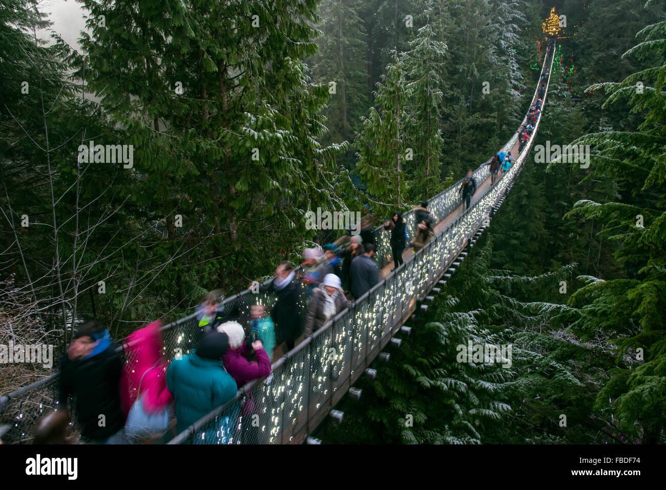 Ponte Sospeso di Capilano, Vancouver, British Columbia, Canada Immagini Stock