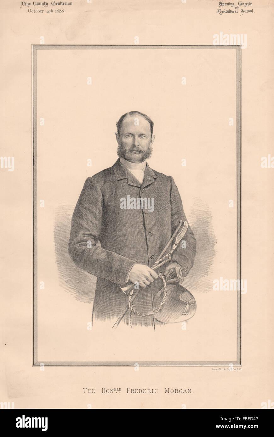 Gli onorevoli Frederic Morgan, antica stampa 1888 Immagini Stock