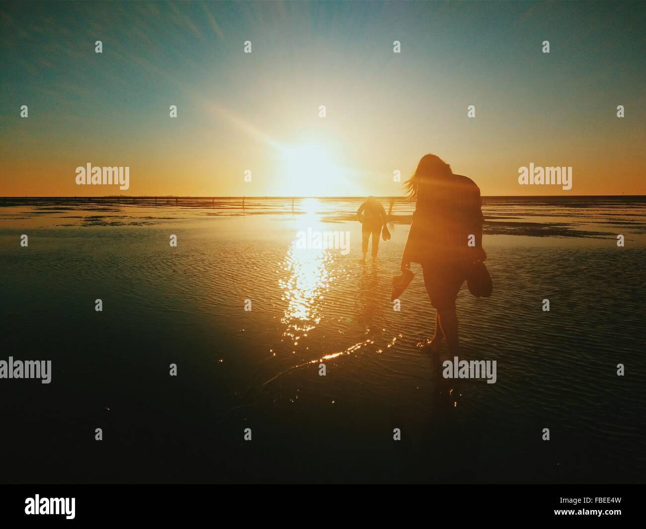 Silhouette gente camminare sulla spiaggia al tramonto Immagini Stock