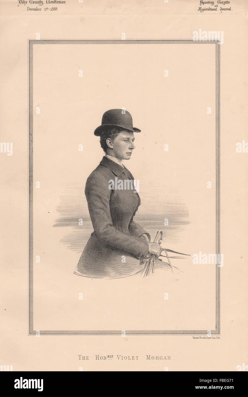 La onorevole Morgan viola, antica stampa 1888 Immagini Stock