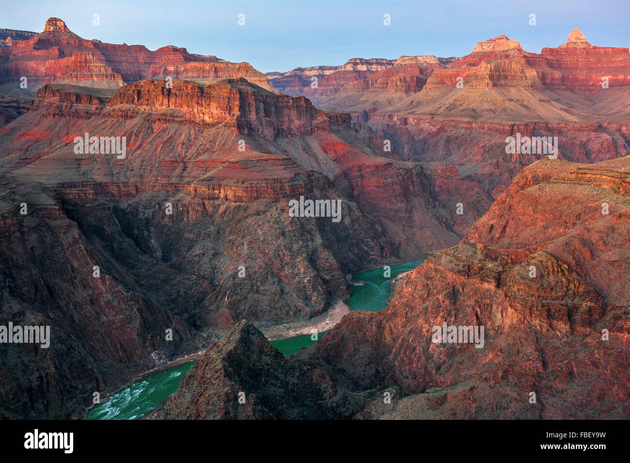 Il fiume Colorado da Tonto trail, Grand Canyon USA Immagini Stock