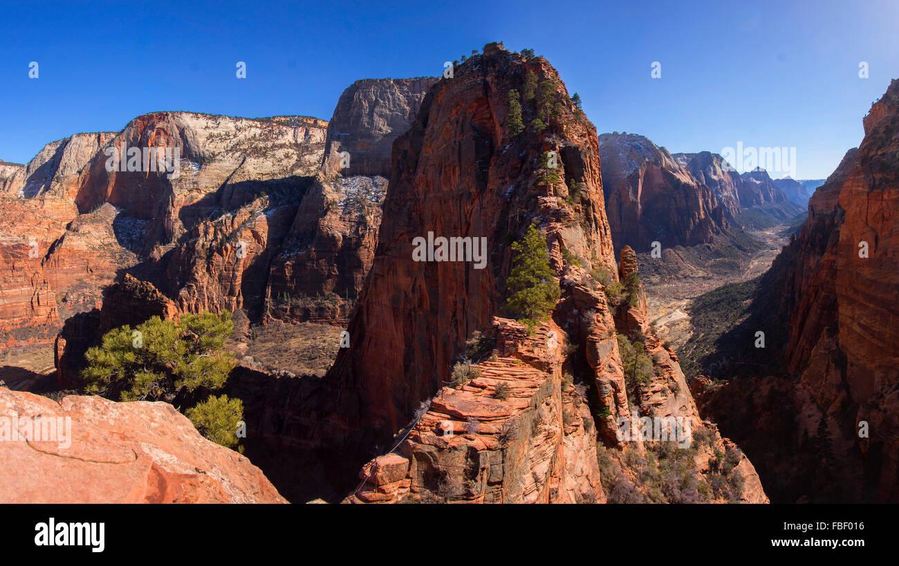 Gli angeli lo sbarco, il Parco Nazionale di Zion, Utah Immagini Stock