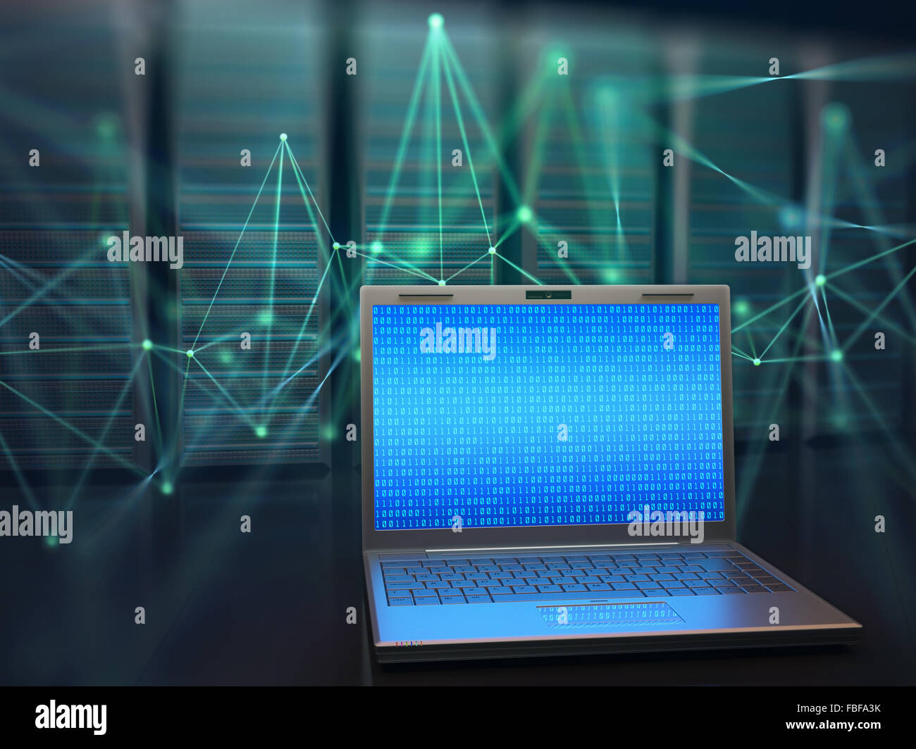 Concetto di immagine della scienza e della tecnologia delle informazioni digitali. One laptop nella parte anteriore Immagini Stock