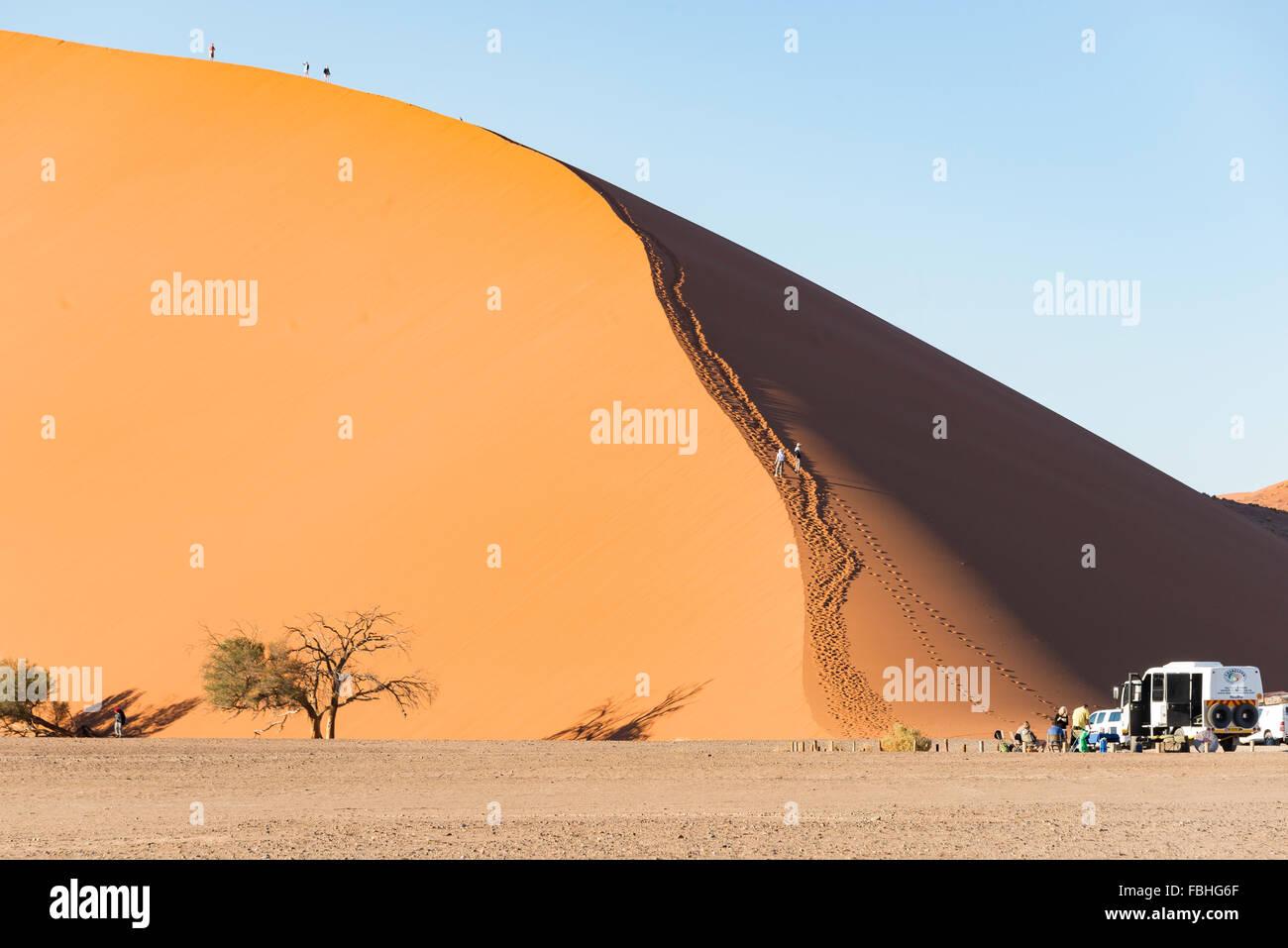 I turisti climbing dune di sabbia, Sossusvlei, Namib Desert, Parco Namib-Naukluft, Regione di Hardap, Repubblica Immagini Stock