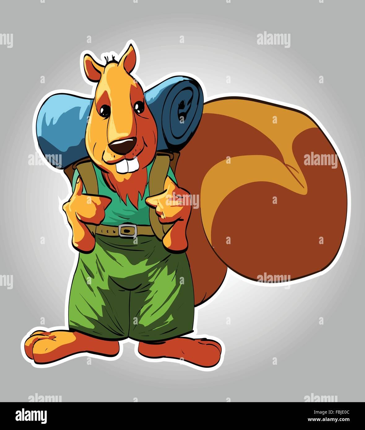 Cartoon turistico lo scoiattolo illustrazione vettoriale