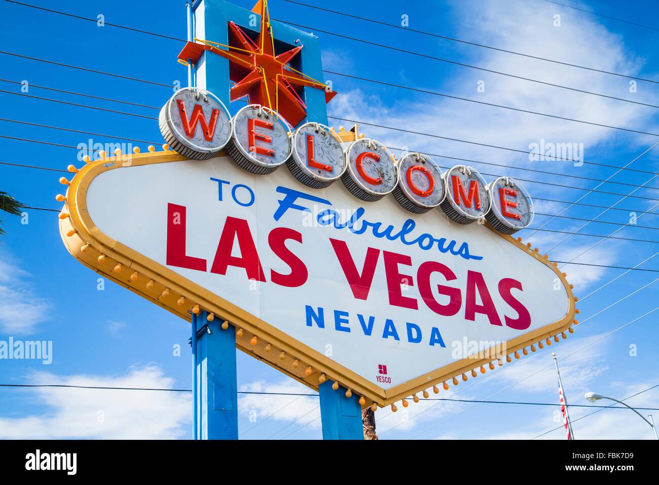 Benvenuto nella favolosa Las Vegas segno Immagini Stock