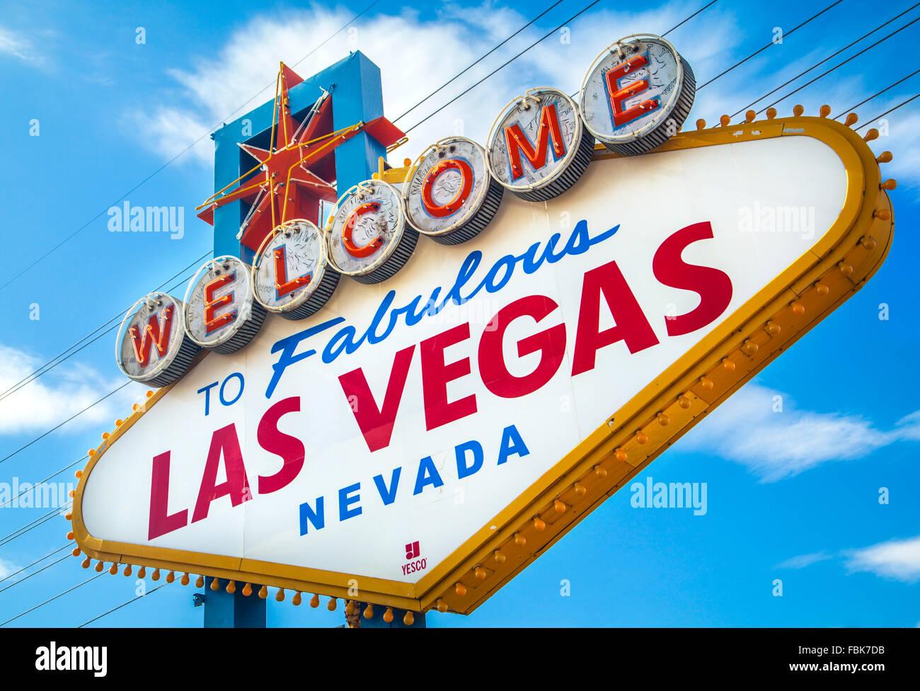 Famoso 'Benvenuto nella favolosa Las Vegas, Segno, sulla striscia. Immagini Stock