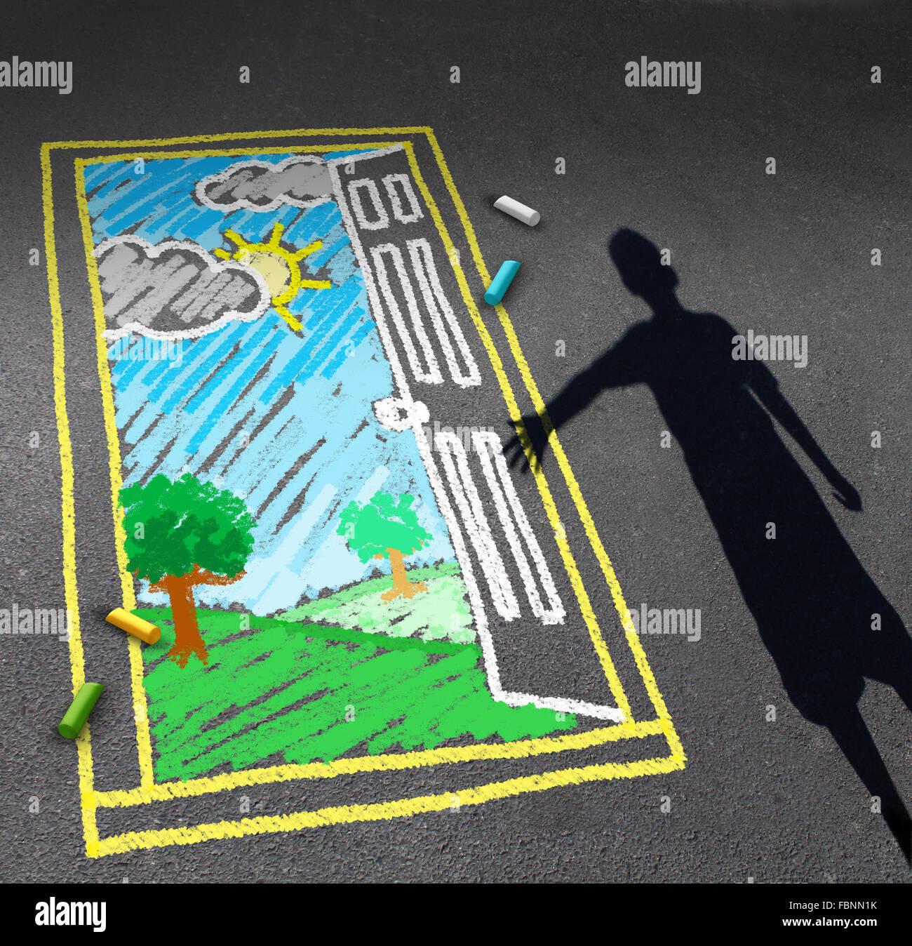 Infanzia opportunità concetto e bambino immaginazione simbolo come un ombra di un ragazzo che guarda verso Immagini Stock