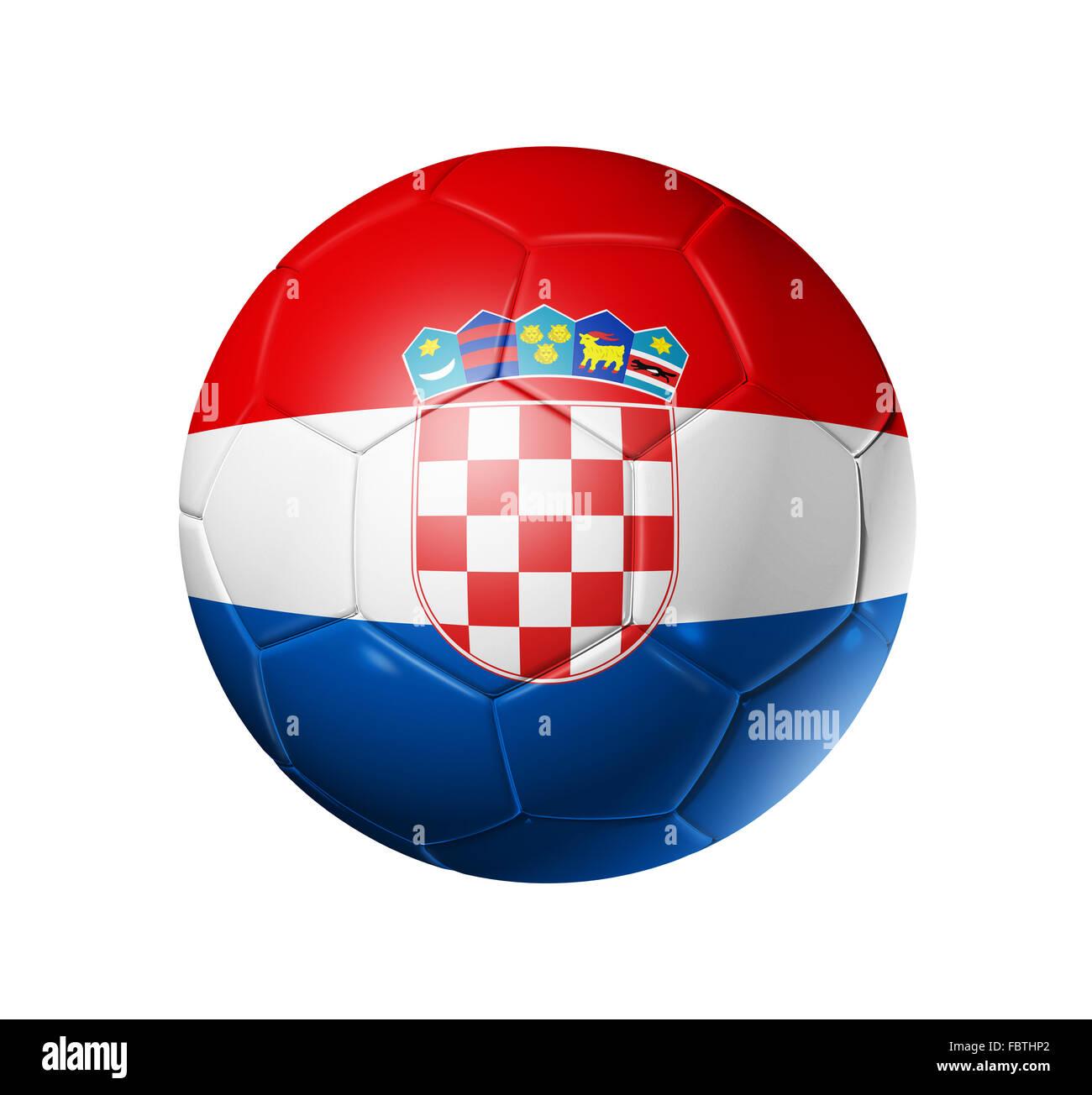Calcio pallone con bandiera della Croazia Foto Stock