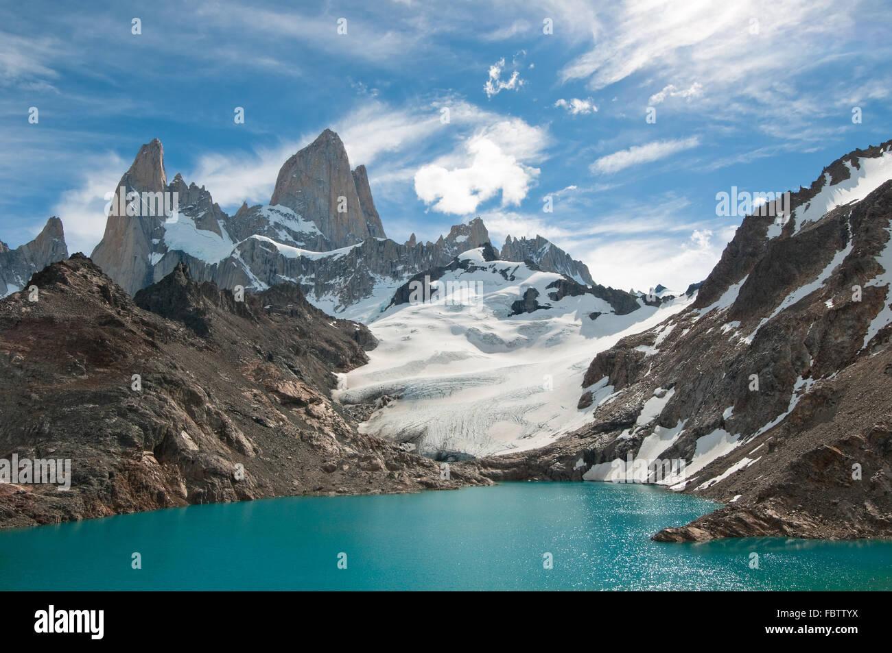 Fitz Roy mountain e la Laguna de los Tres, Patagonia, Argentina Immagini Stock