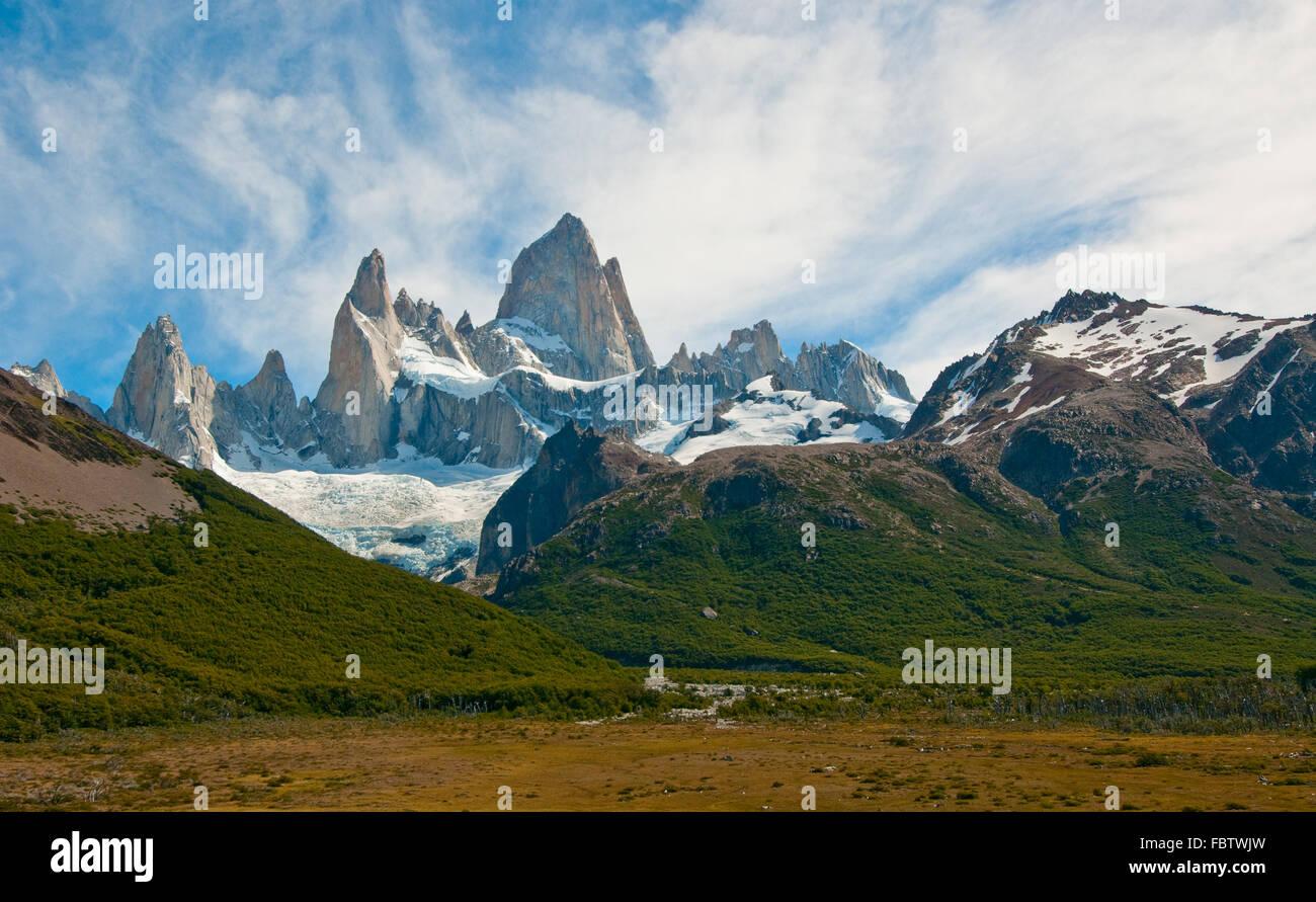 Fitz Roy mountain e la Laguna de los Tres, Patagonia, Argentina Foto Stock