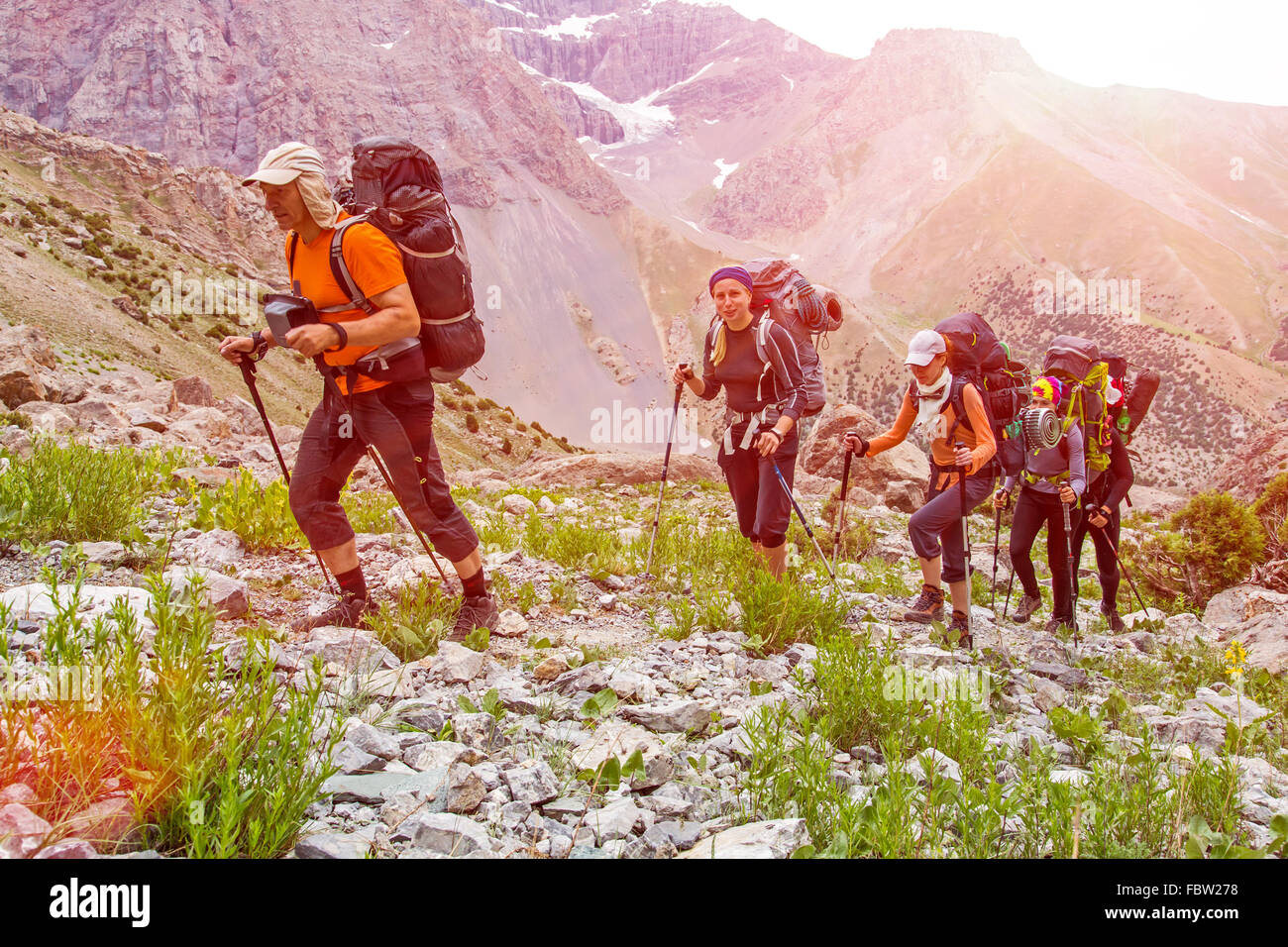 Trekking in Himalaya Immagini Stock