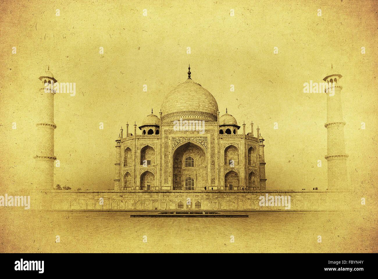 Immagine vintage del Taj Mahal di sunrise, Agra, India Immagini Stock