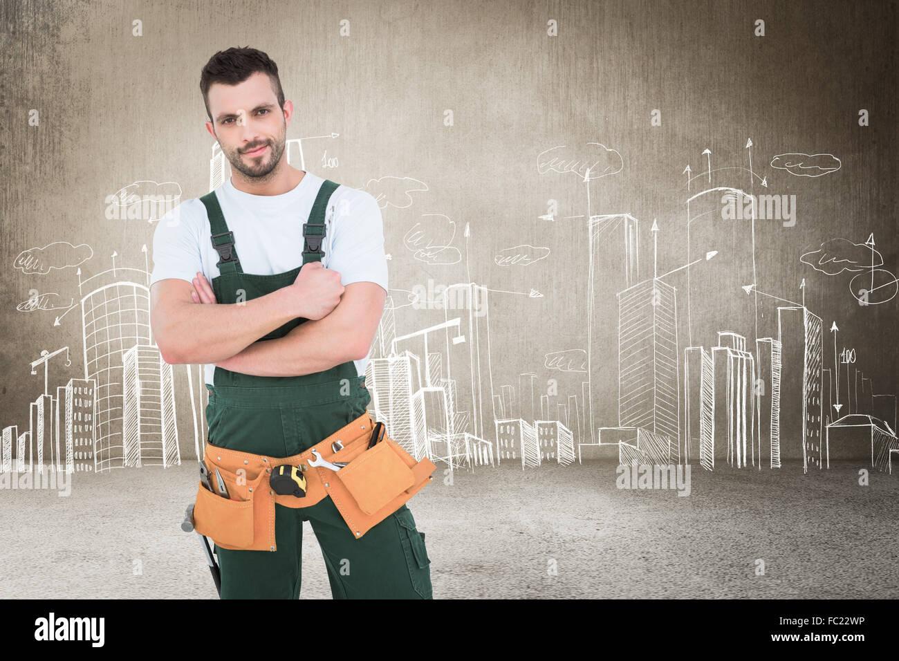 Immagine composita di carpenter sorridente in telecamera Immagini Stock