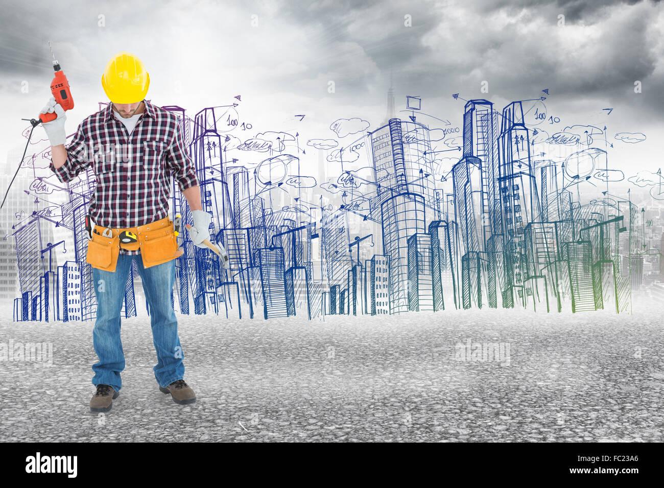Immagine composita di maschio repairman azienda macchina di perforazione e un martello Immagini Stock