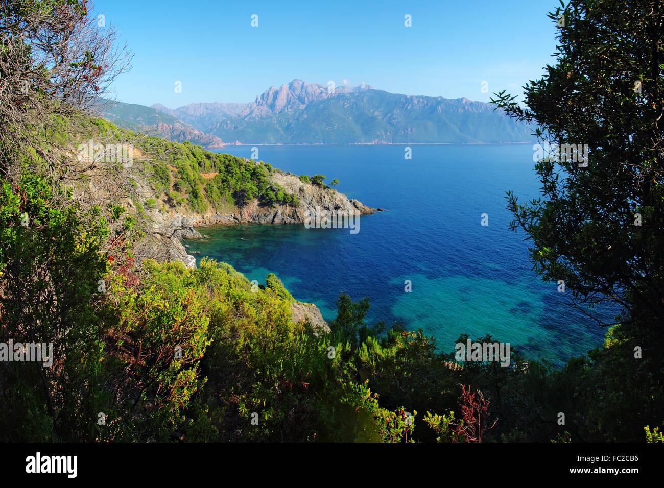 Il golfo di Porto e Capu d'Ortu - Corsica Immagini Stock