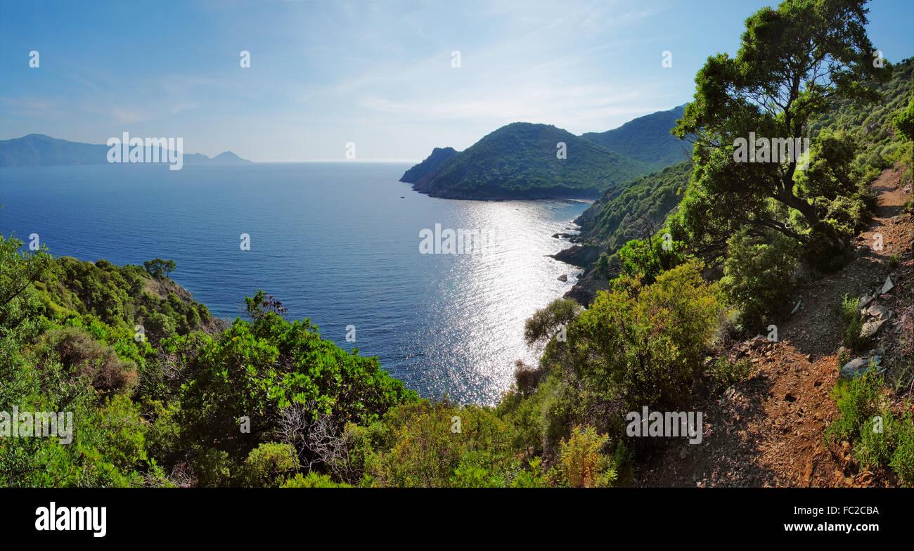 Panorama del golfo di Porto - Corsica Immagini Stock