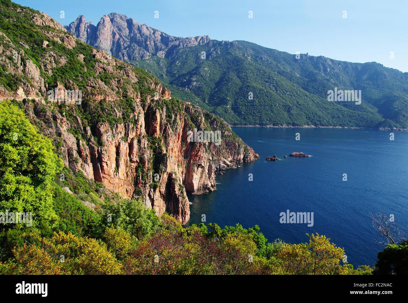 Scogliere del golfo di Porto - Corsica Immagini Stock