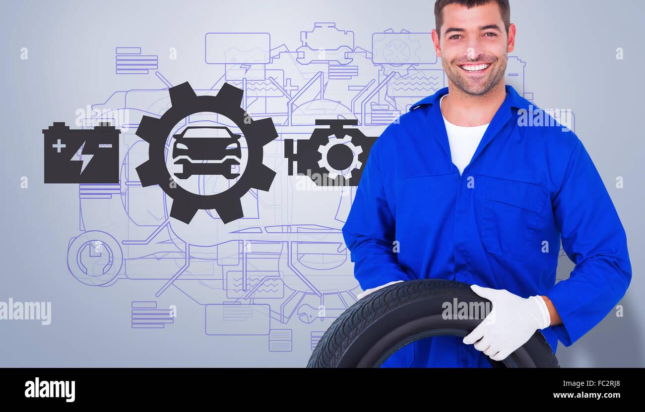 Immagine composita di trattenimento meccanico pneumatico su sfondo bianco Immagini Stock