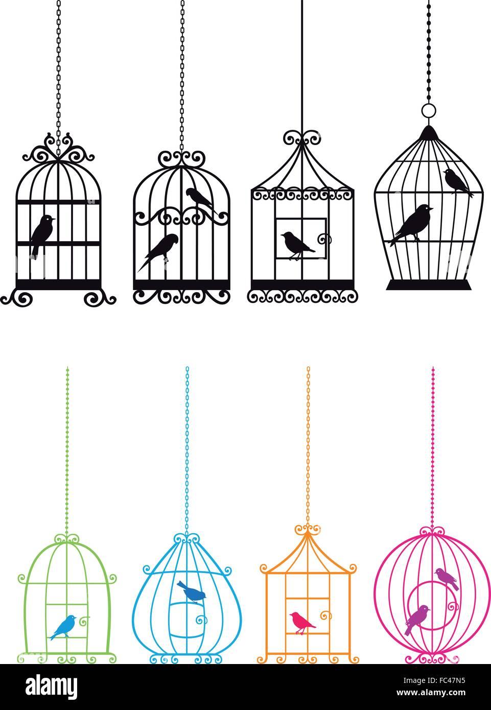 Vintage birdcage insieme con gli uccelli, illustrazione vettoriale Immagini Stock