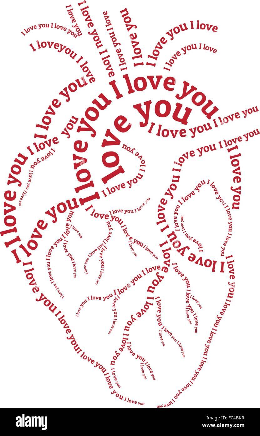 Rosso cuore umano, disegnati a mano tipografia arte parola, illustrazione vettoriale Immagini Stock