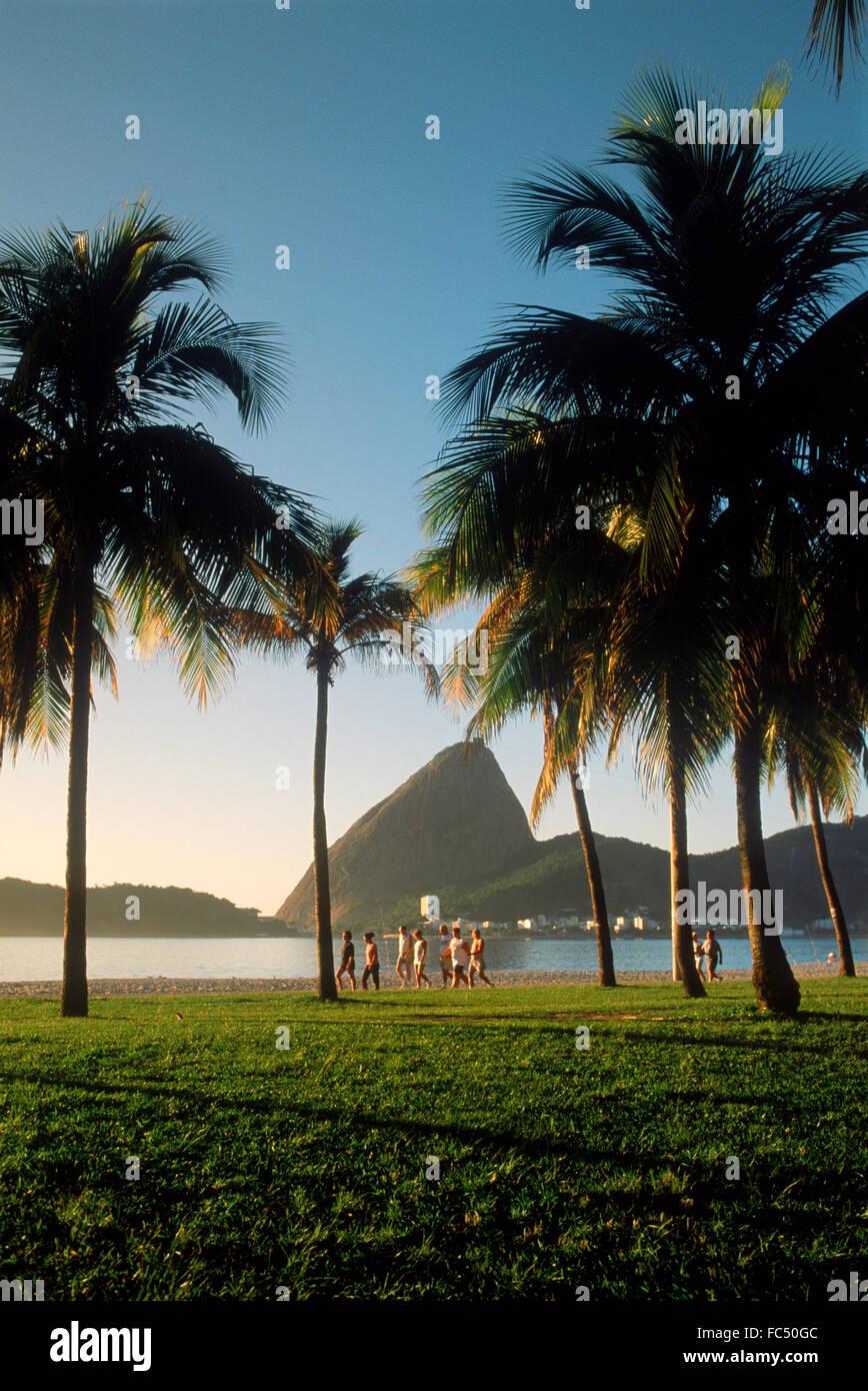 Le persone che assumono Morning jog e camminare lungo la spiaggia Flamengo vicino a Sugar Loaf presso sunrise a Immagini Stock