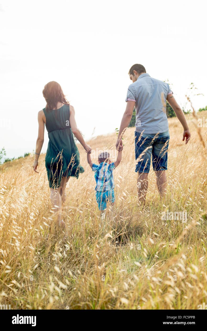 I genitori a piedi con il giovane figlio di campo, vista posteriore Immagini Stock