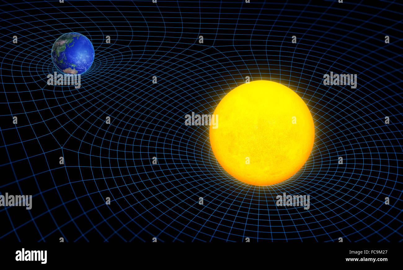 Spazio tempo continuum di curvatura e di concetto di gravità Immagini Stock