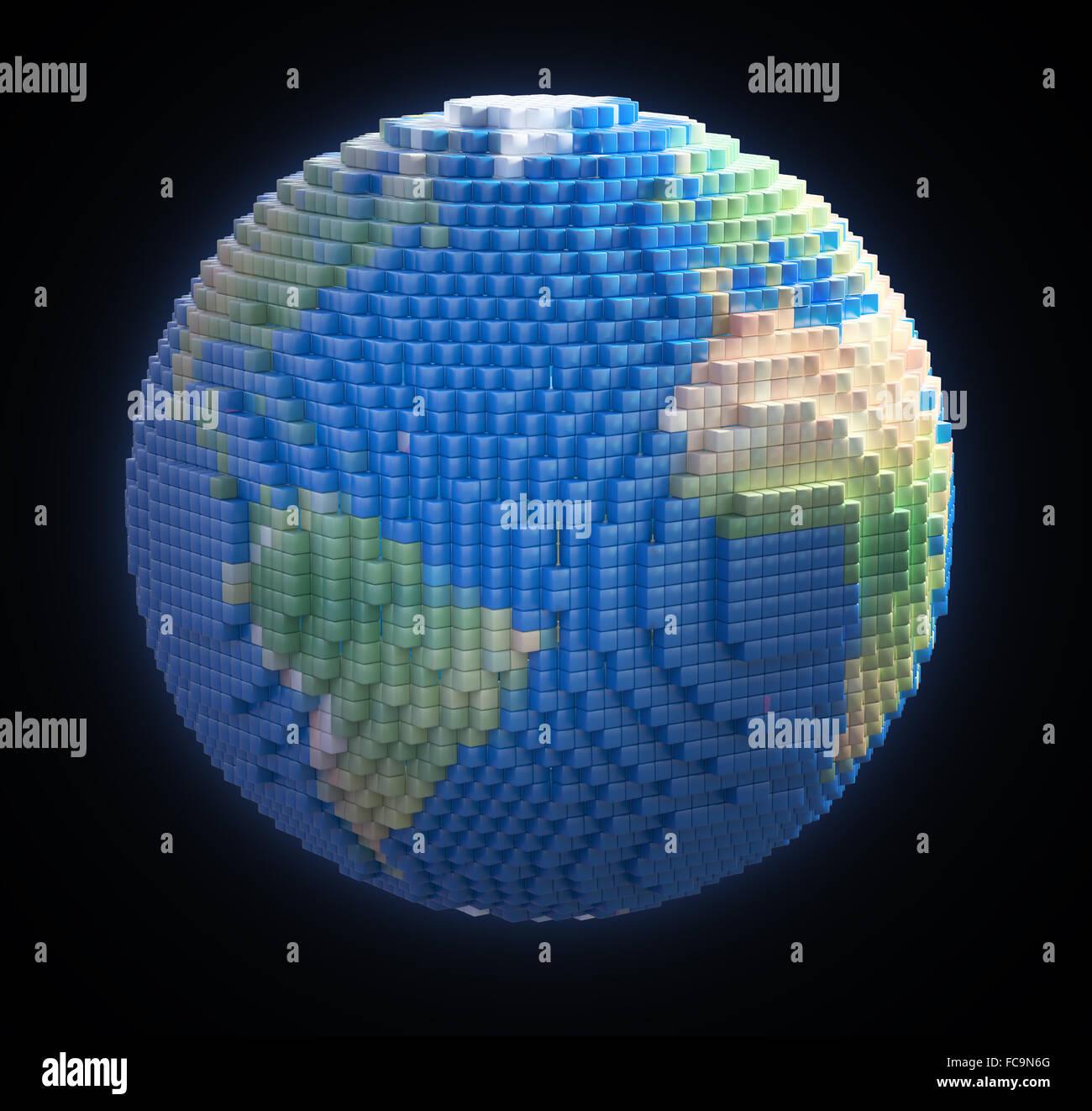 Globo terrestre fatta di voxel 3d cubi Immagini Stock
