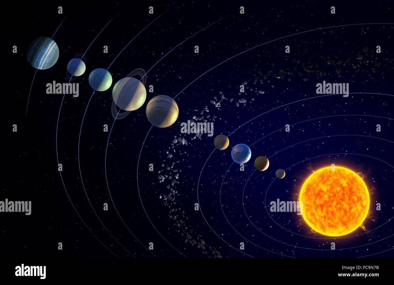Sistema solare illustrato con il teorizzato nono pianeta X Immagini Stock