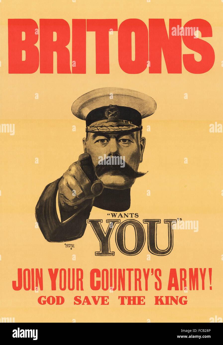 """""""Lord Kitchener vuole te' poster di reclutamento per l'esercito britannico nella prima guerra mondiale. Immagini Stock"""