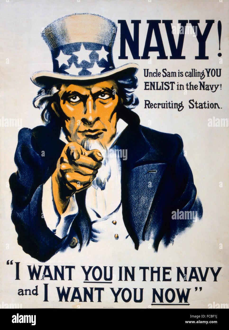 Lo zio Sam poster di reclutamento per la marina militare statunitense in WWI, c.1917 Immagini Stock