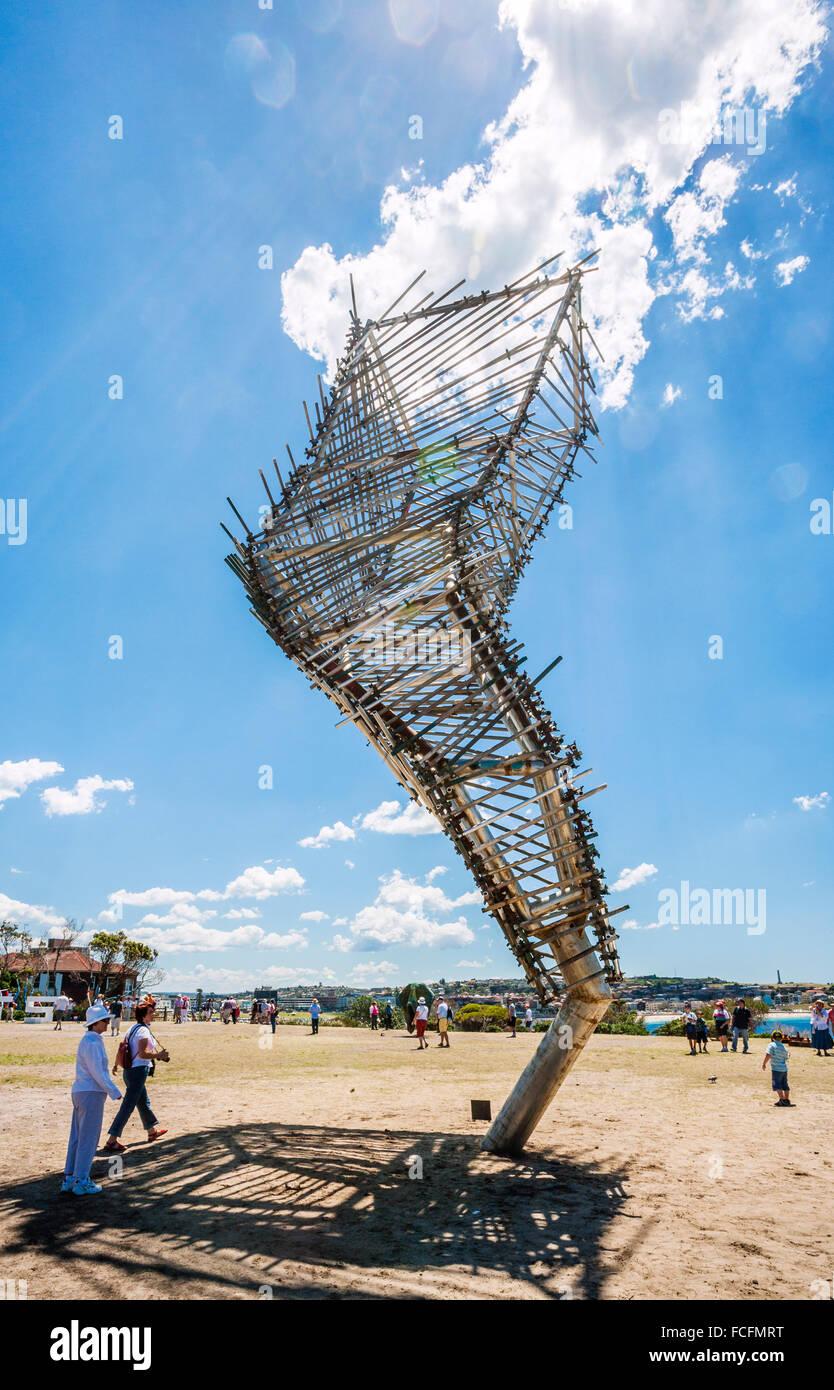 """Australia, NSW, Sydney, Bondi-Tamarama, scultura dal mare, aria aperta mostra d'arte, """"vento strutturate' Immagini Stock"""