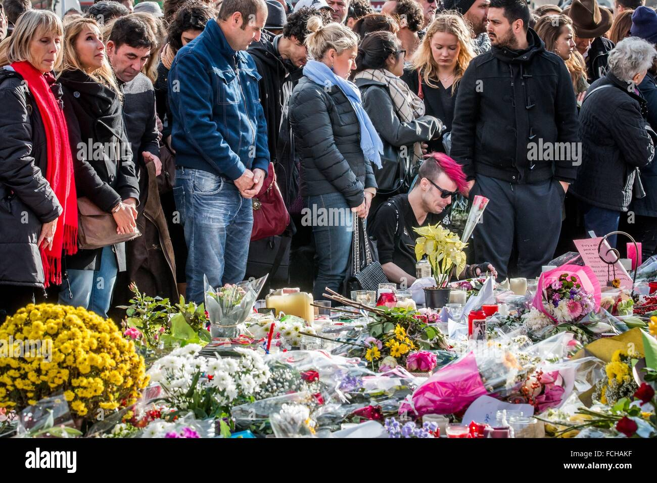 Parigi attentati terroristici commessi da membri di Iside, Stato islamico, undicesimo arrondissement di Parigi (75), Immagini Stock