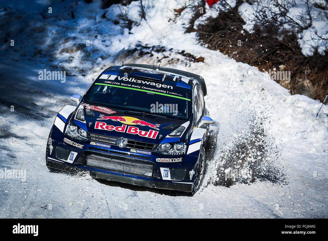 Monte Carlo, Monaco. Xxi gen, 2016. Il Rally di Monte Carlo 2016. Le vetture prende per il corso. Sebastien Ogier Immagini Stock