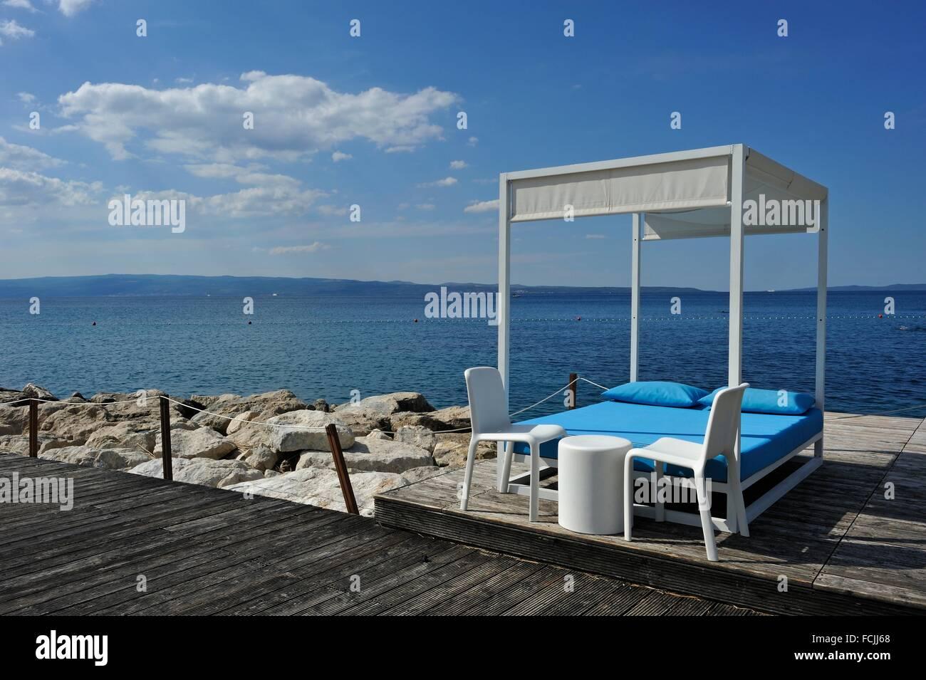 Spiaggia di Radisson Blu Resort, Split, Croazia, Europa sud-orientale. Immagini Stock