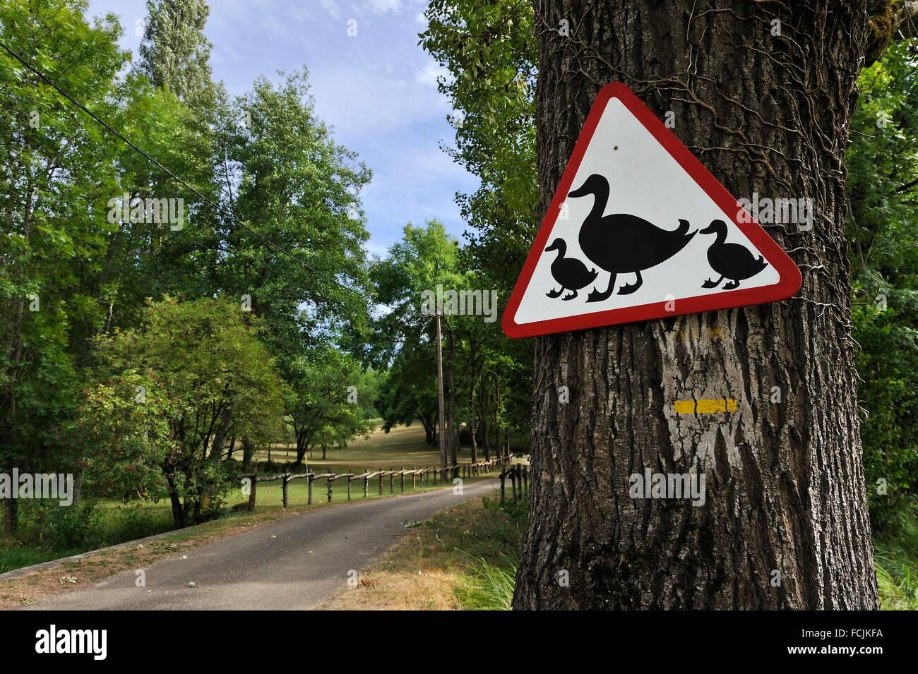 Insolito cartello stradale, lotto reparto, regione del Mezzogiorno-Pirenei, a sud-ovest della Francia, l'Europa. Immagini Stock