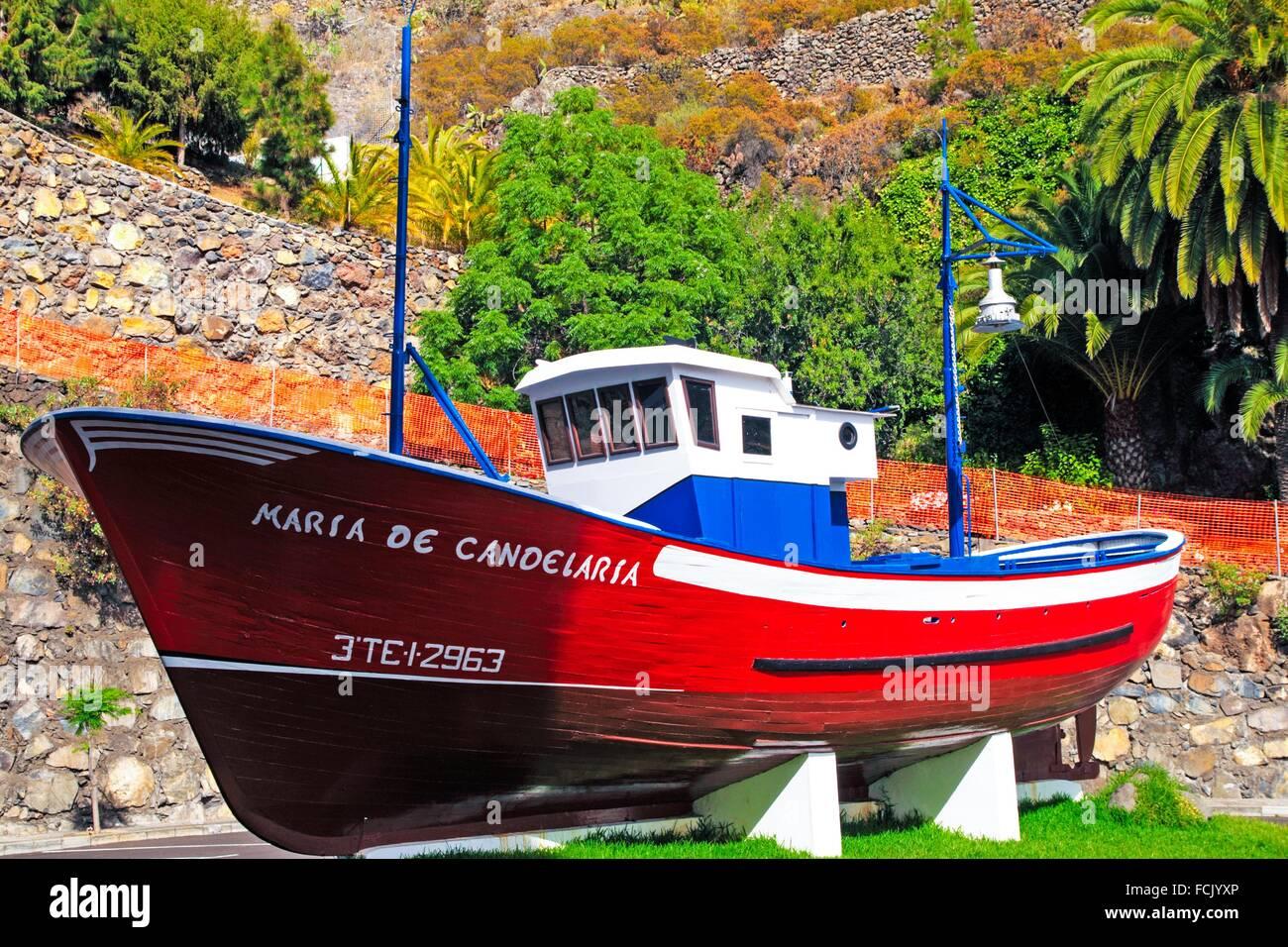Imbarcazione ferma in Tijarafe comune. Isola di La Palma. Isole Canarie. Spagna. Foto Stock