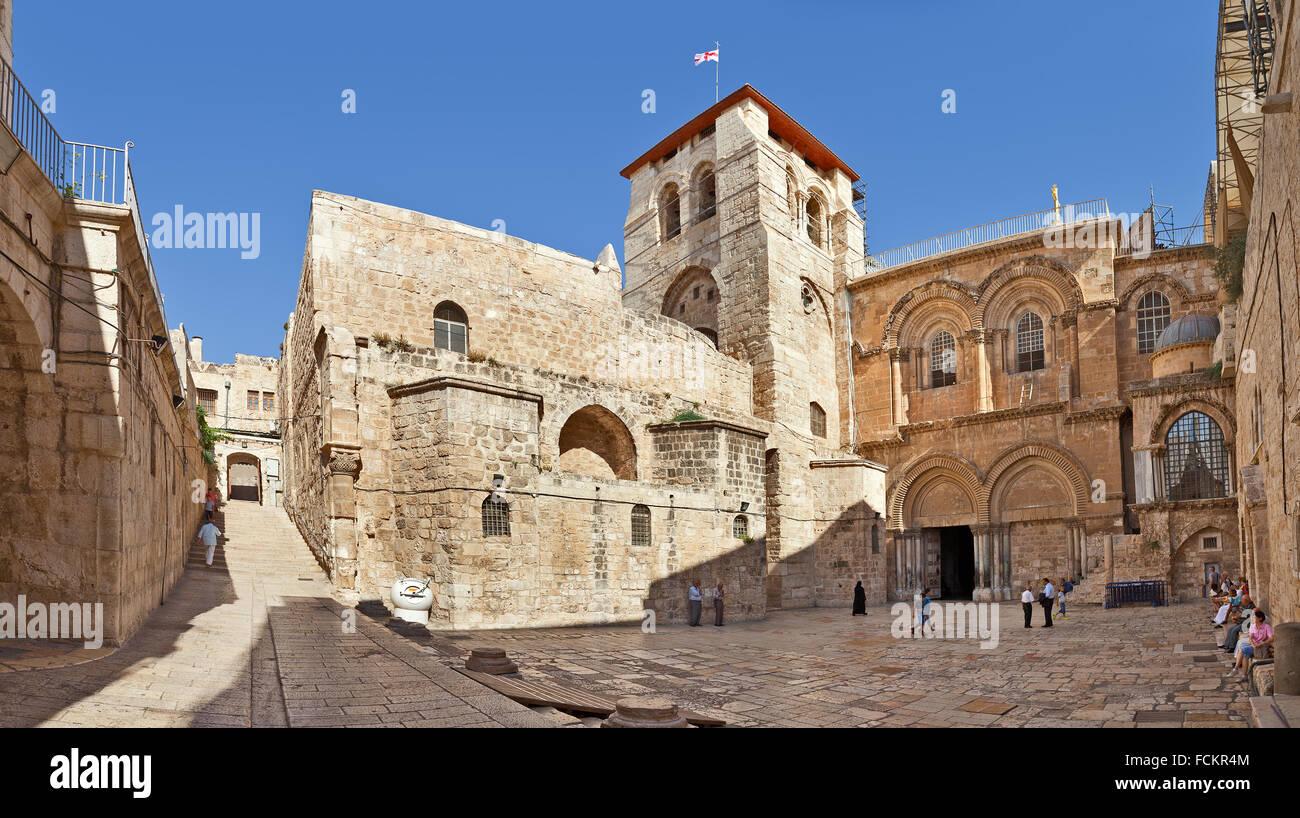 Panorama della chiesa del Santo Sepolcro - La Chiesa nel Quartiere Cristiano della Città Vecchia di Gerusalemme. Immagini Stock