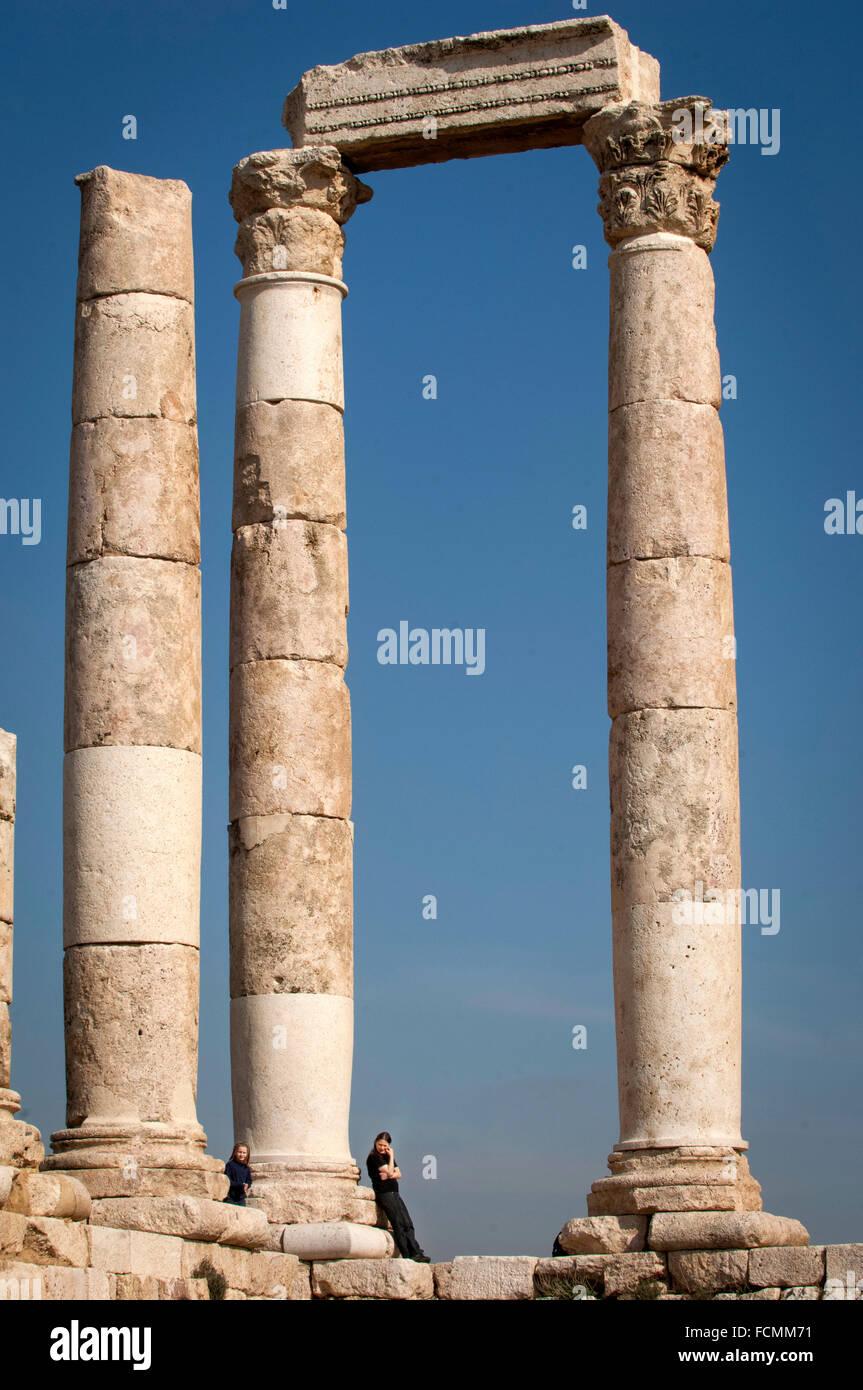 Il Tempio di Ercole presso la cittadella di Amman, Giordania. Immagini Stock