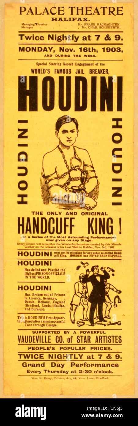 Un 1903 poster per un Harry Houdini spettacolo presso il Palace Theatre di Halifax, England, Regno Unito Immagini Stock