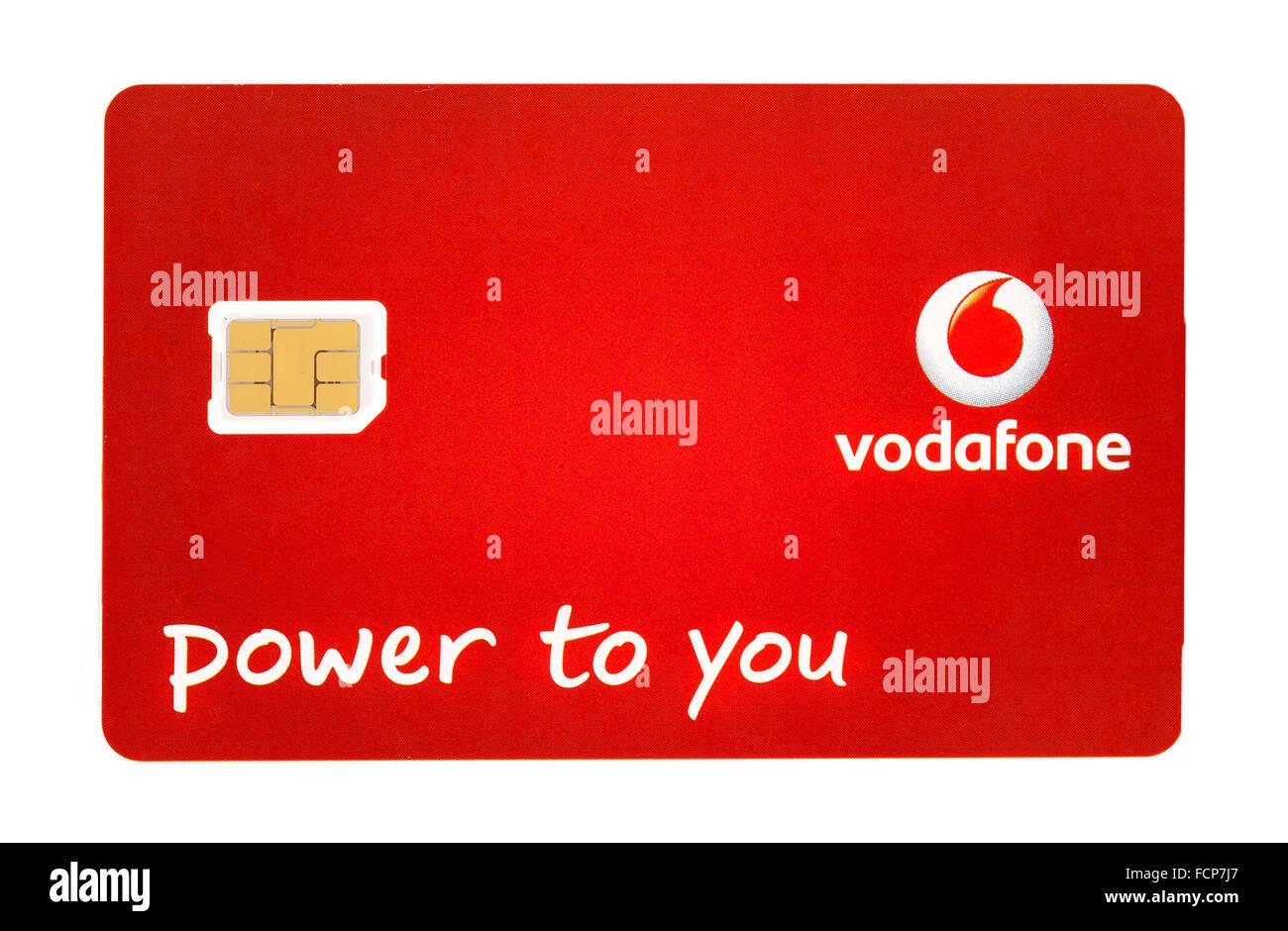 Vodafone Nano Sim Per Iphone Su Uno Sfondo Bianco Foto Immagine
