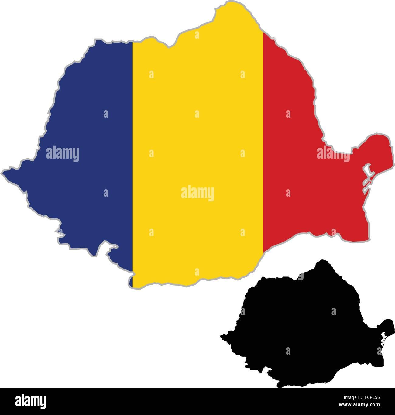 Cartina Dettagliata Romania.Mappa Romania Bandiera Su Uno Sfondo Bianco Vector Illustrator Immagine E Vettoriale Alamy