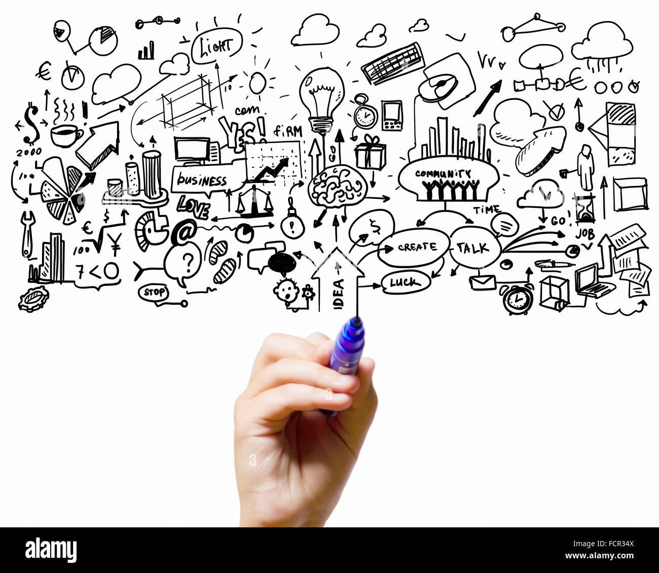 Close up man mano il successo di disegno del piano strategico Immagini Stock