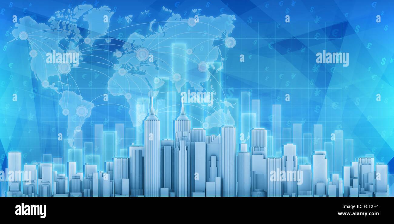 Città dell'economia contro lo sfondo della carta Immagini Stock