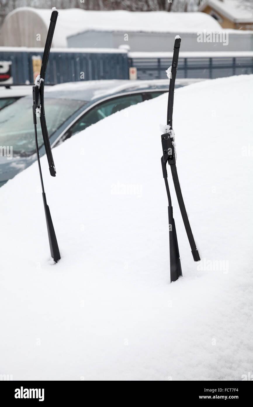 Tergivetri auto alzavano auto coperti di neve nella fredda stagione invernale Immagini Stock