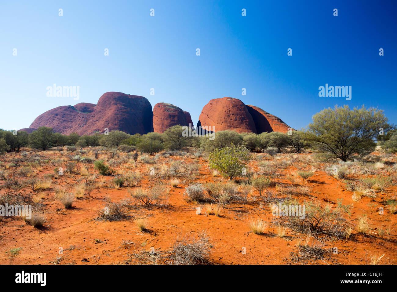 L'Olgas nei pressi della Valle dei Venti a piedi nel Territorio del Nord, l'Australia Foto Stock
