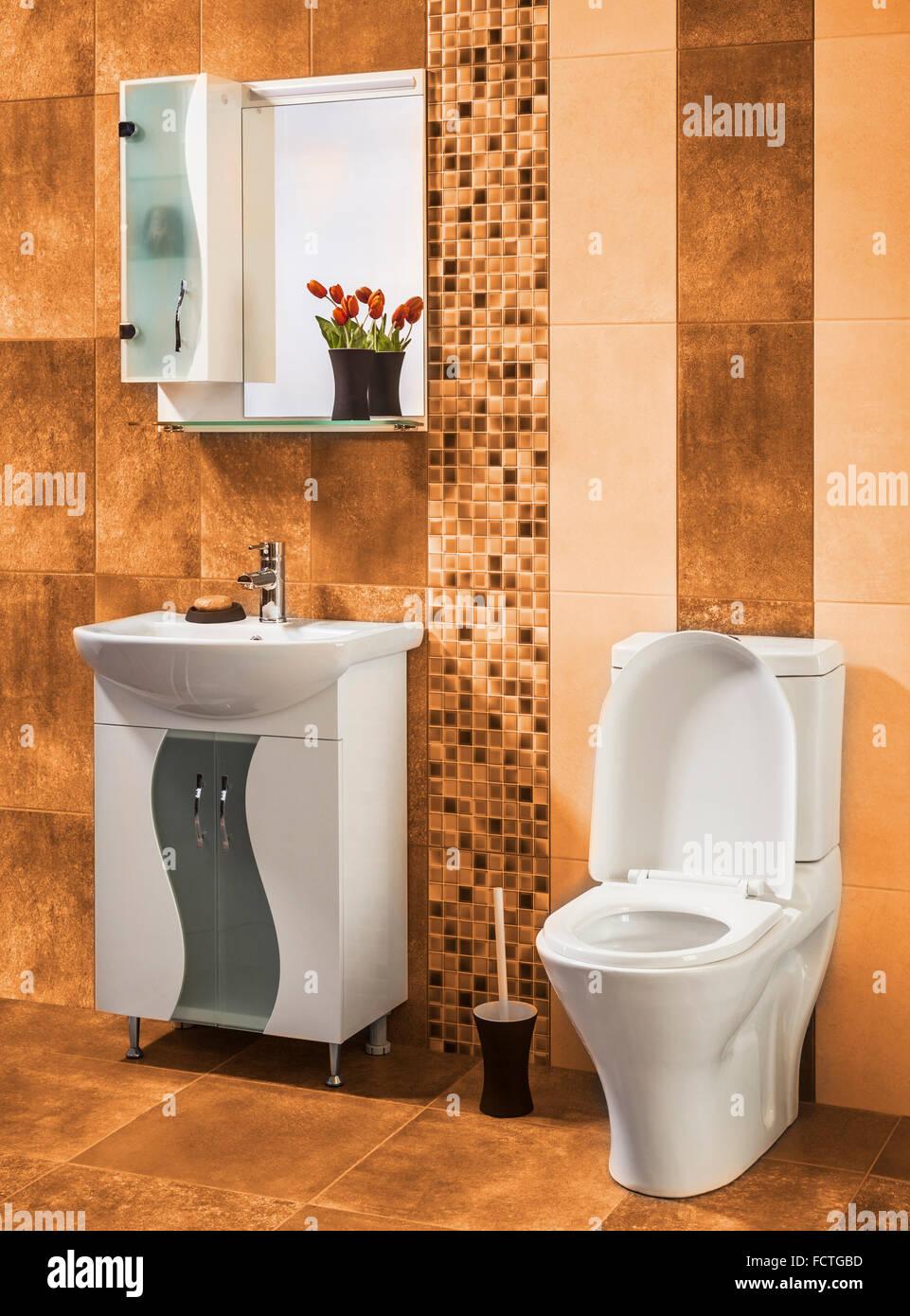 Piastrelle Arancioni Per Bagno bella ed elegante bagno decorato con fiori con piastrelle di
