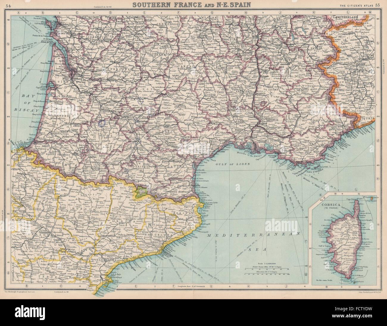 Cartina Geografica Spagna Nord Est.La Francia A Sud E A Nord Est Della Spagna Catalogna Catalunya Aquitaine Provence 1924 Mappa Foto Stock Alamy